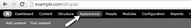 Access Appearance menu in Drupal
