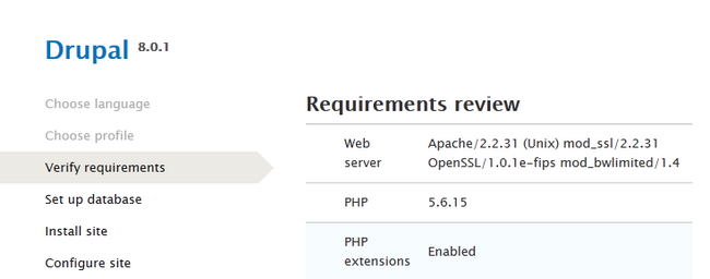 Verifying the System Requirements for Drupal 8