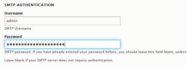 Filling the SMTP Authentication fields