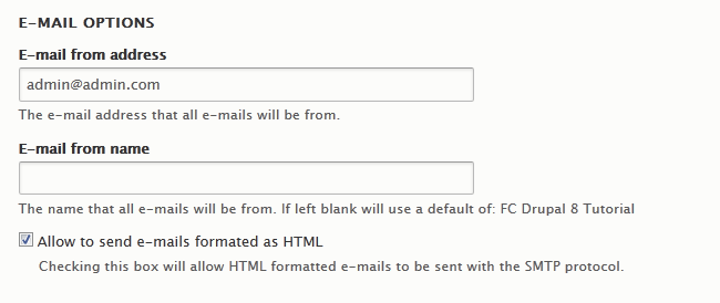 Configuring the E-mail options in Drupal 8