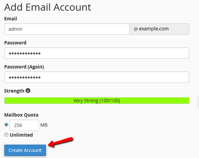 Creating a new Email Account