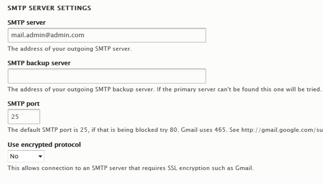 Turning ></p>  <p> </p>  <p>Next are the <strong>SMTP Server Settings</strong>:</p>  <ul> 	<li><strong>SMTP server –</strong> The address for your outgoing SMTP server which is mail.emailaddress</li> 	<li><strong>SMTP backup server –</strong> If you have a second SMTP server for this email, fill this field</li> 	<li><strong>SMTP port –</strong> The port on which the SMTP service will be established. Use <strong>25</strong> or <strong>2525 </strong>for non encrypted and <strong>465</strong> for encrypted connection.</li> 	<li><strong>Use encrypted protocol –</strong> If you want to use SSL encryption set this to yes and use the appropriate port specified above</li> </ul>  <p> </p>  <p><img alt=