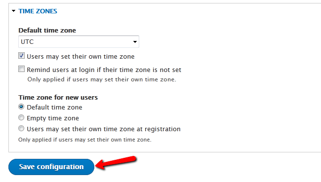 Configuring the Time Zone settings in Drupal 8