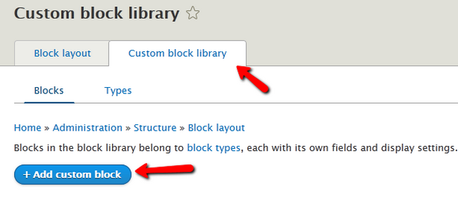 Opening the Custom block library of Drupal 8