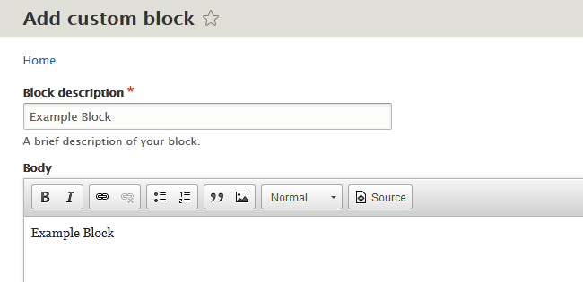 Configuring a new Content Block in Drupal