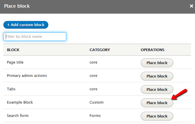 Selecting the Content Block for insertion