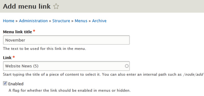 Configuring a Menu link in Drupal 8