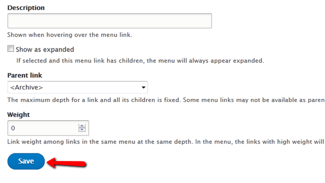 Saving a Menu link