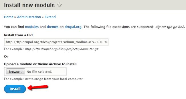 Installing a new Module in Drupal 8