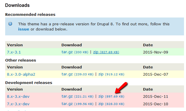 Downloading the correct Theme version for your Drupal 8 website