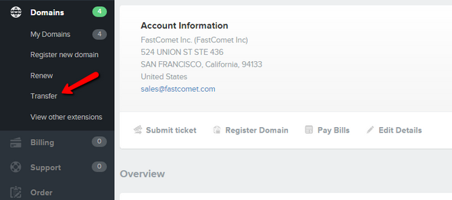 Navigating to the transfer option in your FastComet Client area