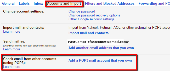 Configuring Accounts and Import in Gmail