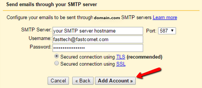 Configuring the SMTP settings