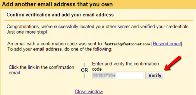 Verifying theconfirmation code