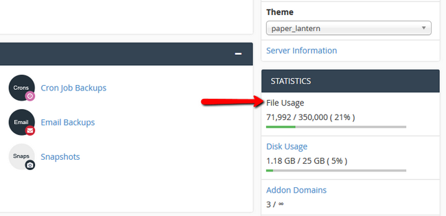 Inode Count viewed in cPanel