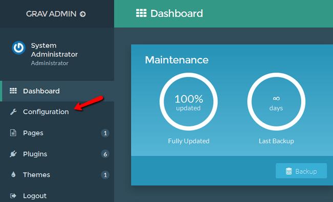 Accessing the Configuration menu in Grav