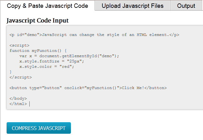 Pasting a JavaScript ready to be minified
