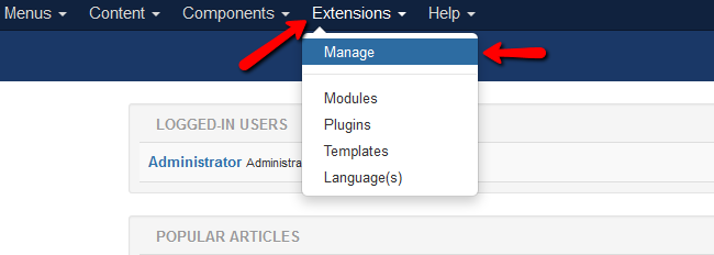 accessing the manage extensions page