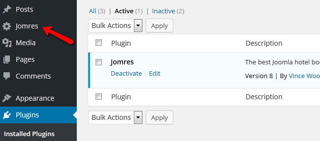 accessing the Jomres plugin