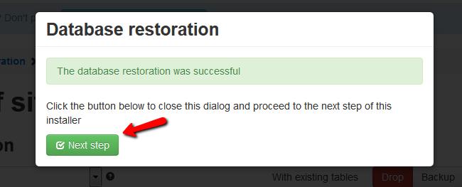 restoring the database
