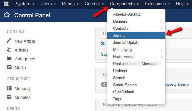 accessing the Jomres component page