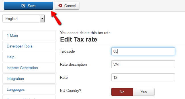 saving the tax rate configuration