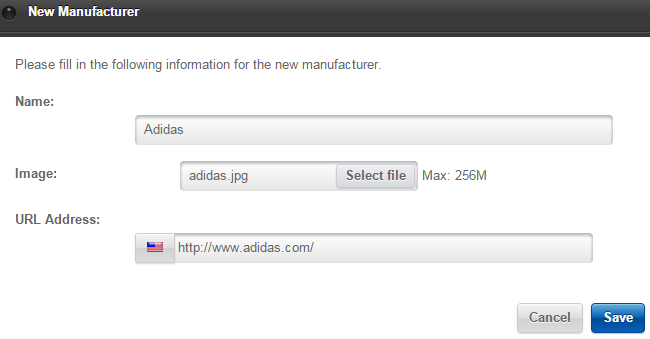 Edit new manufacturer details in Loaded Commerce