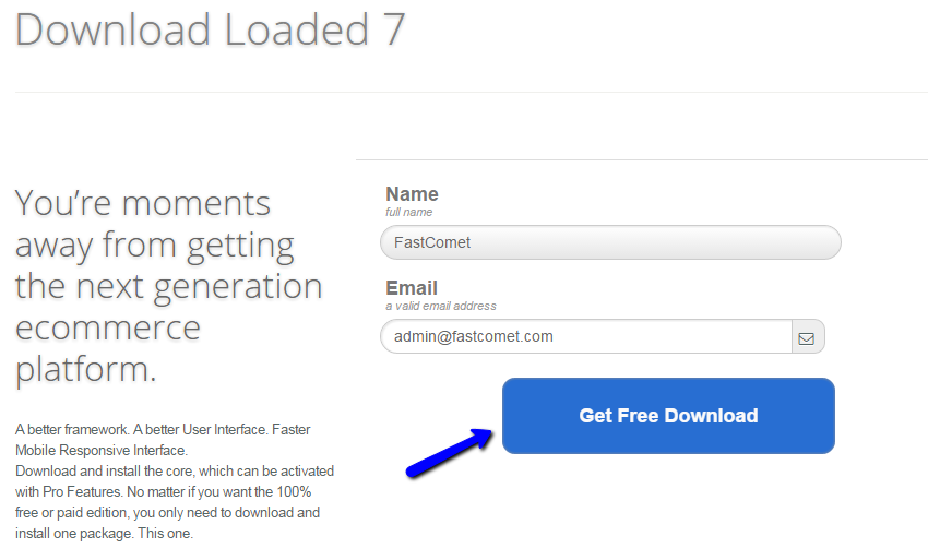 Enter details for Loaded Commerce download