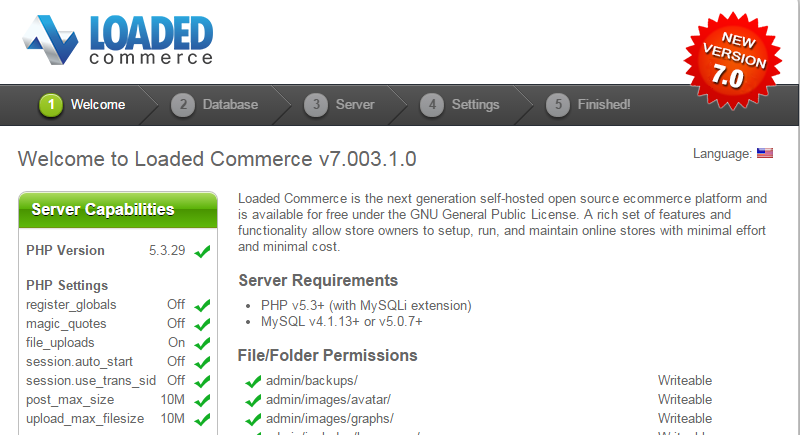 Loaded Commerce installation system check