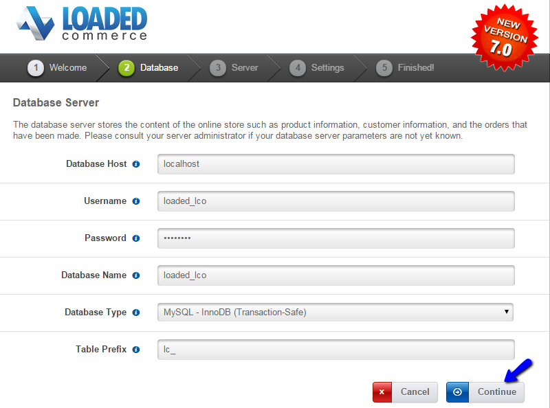 Loaded Commerce installation database check