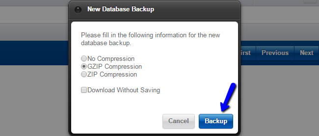 Backup compression options in Loaded Commerce