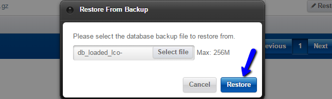 Upload backup for restore in Loaded Commerce