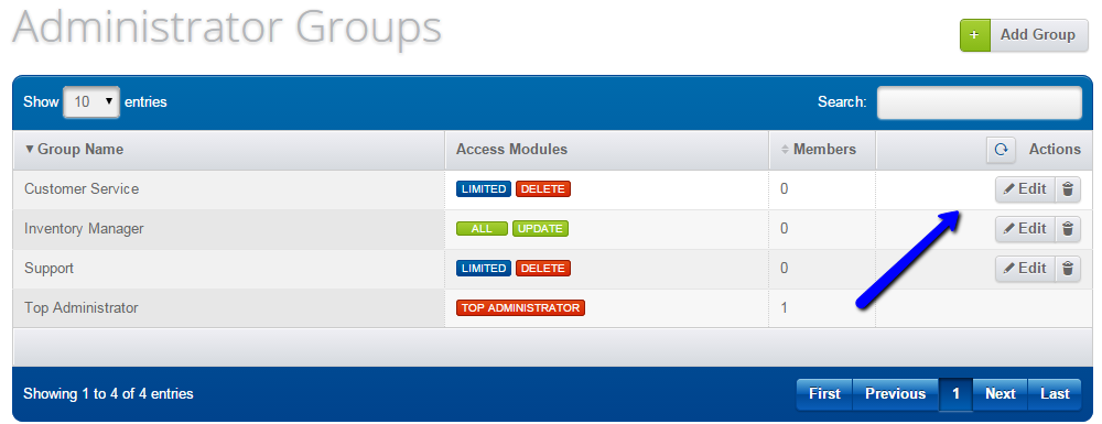 Manage administrator groups in Loaded Commerce