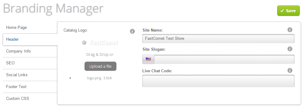 Header configuration in Loaded Commerce