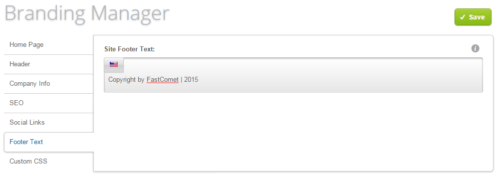 Footer text change in Loaded Commerce