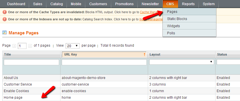 Magento Pages