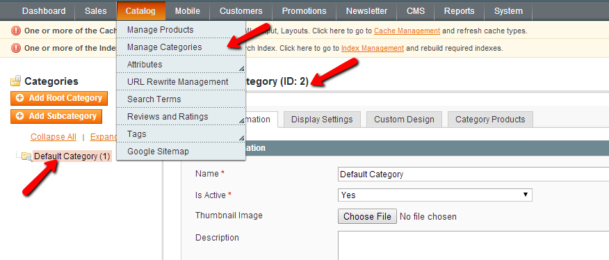Magento Manage Categories