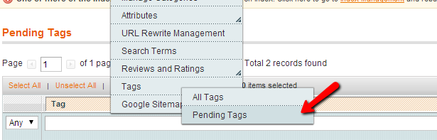 Magento Pending tags
