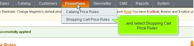 Magento Promotions menu