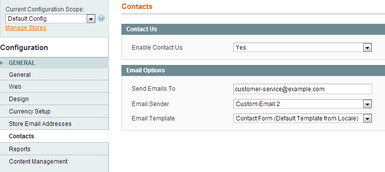 Magento Contact emails
