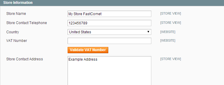 Magento Store Information