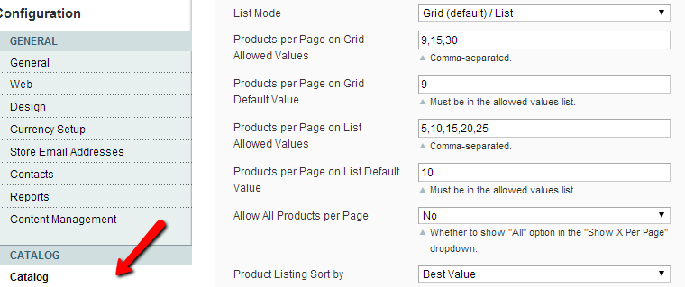 Magento Catalog Settings