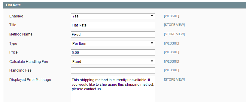 Magento flat rate shipping settings