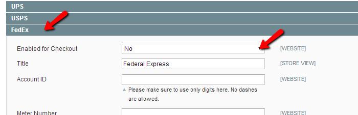 Magento FedEx configuration