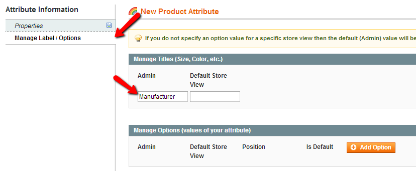 manage label options