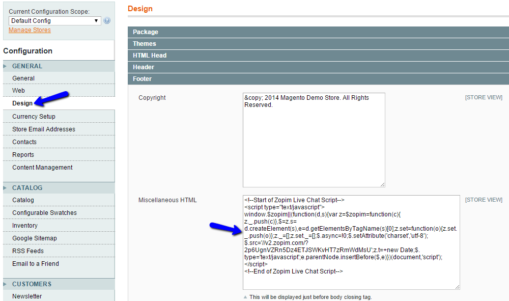 Add Zopim Widget Code in Magento