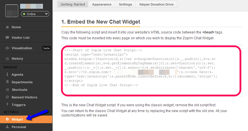 Zopim Live Chat Widget Code