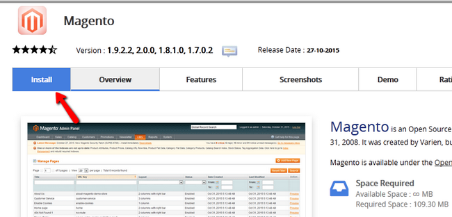 Accessing the Install tab in the Magento section