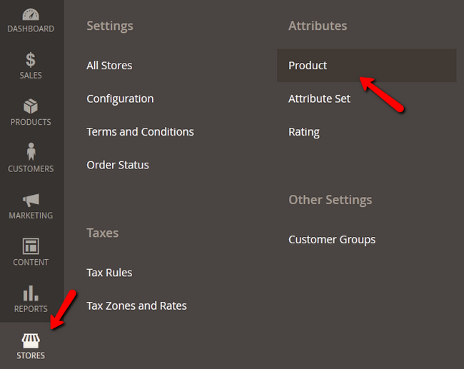 Accessing the Products Attributes menu in Magento 2