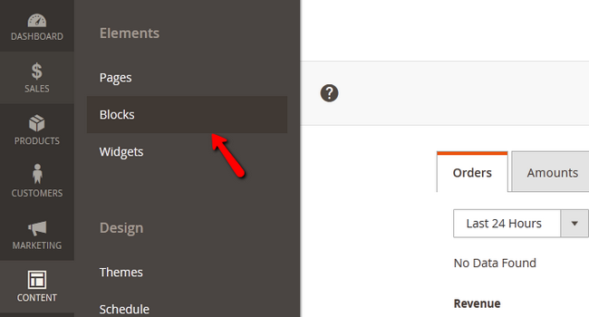 Accessing the Blocks menu in Magento 2